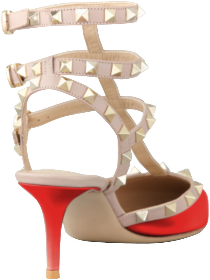 Valentino Rockstud Patent Leather Sandal, Red