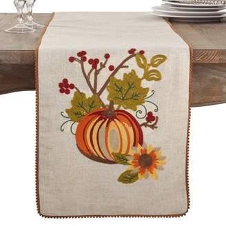 August Grove Litwin Embroidered Pumpkin Flower Fall Thanksgiving Table Runner