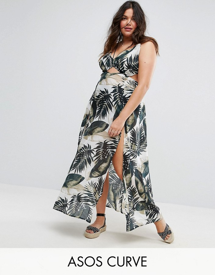 ASOS Curve ASOS CURVE Beach Maxi Dress With Strap Detail in Palm Print