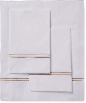 Bellino Italian Linens Two Line Embroidery Percale Sheet Set