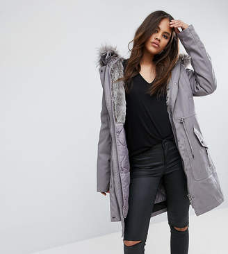 Asos Tall TALL Parka with Detachable Faux Fur Liner