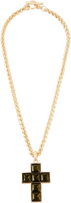 Kenneth Jay Lane Square-Cut Cross Pendant Necklace