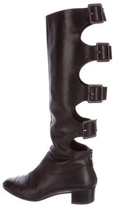 Chanel Cap-Toe Leather Boots