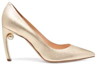 Nicholas Kirkwood Mira Pearl Heeled Leather Pumps - Womens - Gold