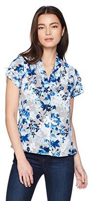Calvin Klein Women's Petite Short Sleeve V-Neck Top
