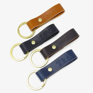 Genuine Leather Key Chain Ring Fob Brass Great Gift LA Leather Co. Attaches to Belt Loops