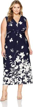 Eliza J Women's Plus Size Maxi Dress with Knot Front, Navy/Ivory, 16W