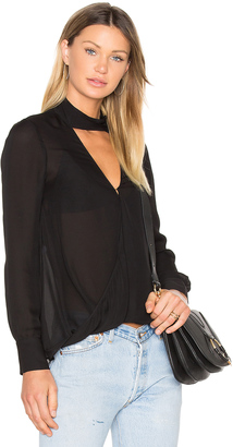 DEREK LAM 10 CROSBY Long Sleeve Drape Front Collar Detail Blouse $395 thestylecure.com
