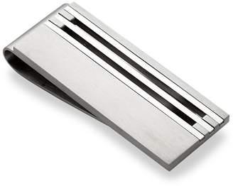 Lotus Men's Stripe Stainless Steel Money Clip