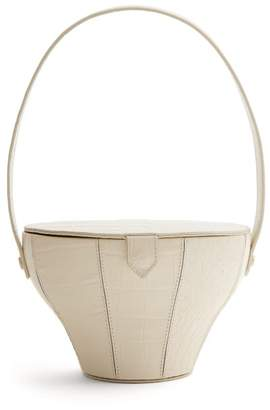 STAUD Alice Crocodile Effect Leather Bag - Womens - Cream