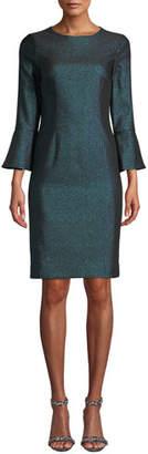Rickie Freeman For Teri Jon Metallic Jacquard Bell-Sleeve Dress