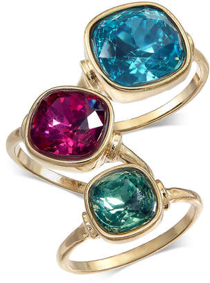 INC International Concepts I.N.C. Gold-Tone 3-Pc. Set Stone Statement Rings, Created for Macy's