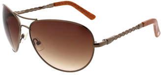 Oscar de la Renta O By Braided Metallic Aviator Sunglasses, Almond/Golden