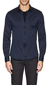 Giorgio Armani Men's Denim-Effect Cotton Jersey Shirt - Dk. Blue