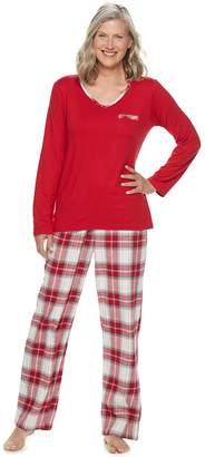 Croft & Barrow Women's Tee & Flannel Pants Pajama Set