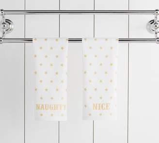 Pottery Barn The Emily & Meritt Naughty Or Nice Guest Hand Towels - Set of 2