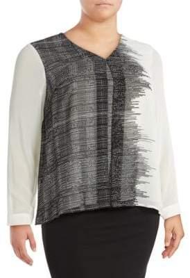 Calvin Klein Printed V-Neck Pullover Top