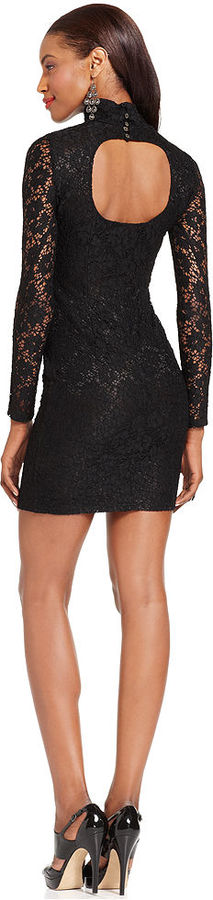 Miss Me Dress, Long-Sleeve Turtleneck Lace Cutout Mini