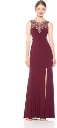 Betsy & Adam Women's Beaded Illusion Front and Back Gown