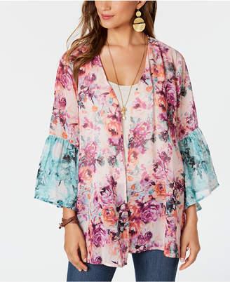 Style&Co. Style & Co Bell-Sleeve Chiffon Kimono Cardigan