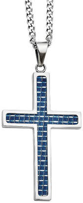 FINE JEWELRY Mens Stainless Steel Blue Carbon Fiber Inlay Cross Pendant