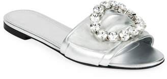Dolce & Gabbana Metallic Crystal Flat Sandals