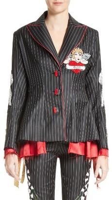 Women's Dilara Findikoglu Embellished Pinstripe Suit Jacket $2,590 thestylecure.com