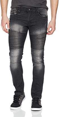 Southpole Men's Slim Straight Stretch Ripped Biker Denim