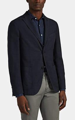 Boglioli Men's Checked Virgin-Wool-Silk Two-Button Sportcoat - Black