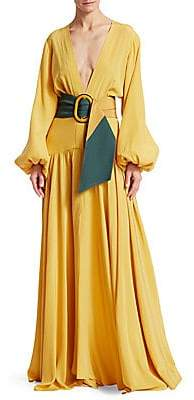 Silvia Tcherassi Women's Felicity Balloon-Sleeve Belted A-Line Maxi Dress