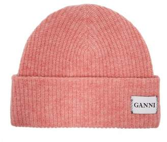 Ganni Hatley Wool Blend Beanie Hat - Womens - Pink