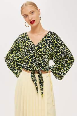Topshop Womens Leopard Print Tie Front Blouse - Multi