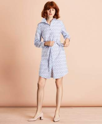 Brooks Brothers Striped Clip-Dot Cotton Dobby Shirt Dress