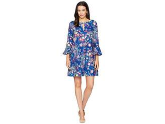 ECI 3/4 Ruffle Sleeve Floral Printed Keyhole Dress Women's Dress