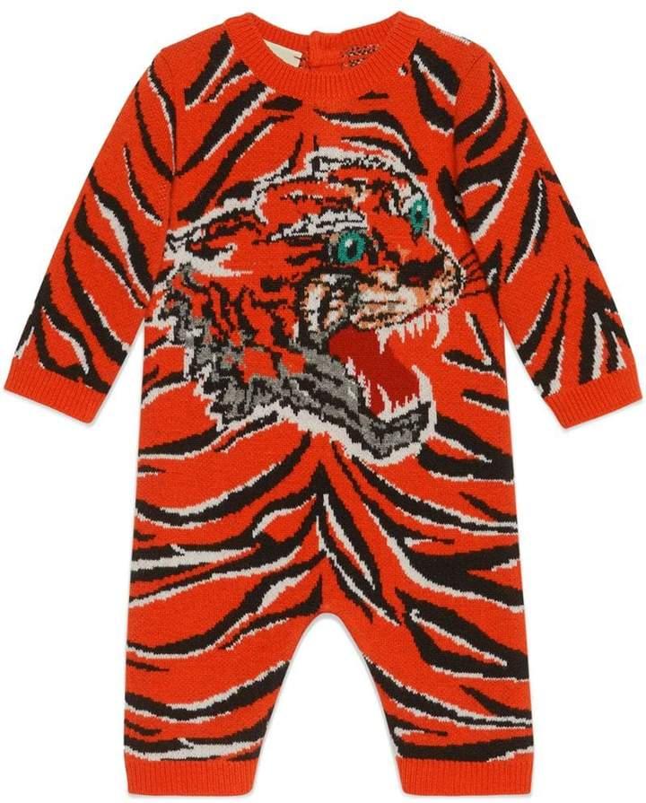 Gucci Kids Baby tiger jacquard wool sleepsuit