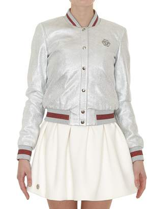 Philipp Plein Ivory Leather Bomber Jacket