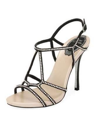 Rene Caovilla Crystal-Studded Satin T-Strap Sandal