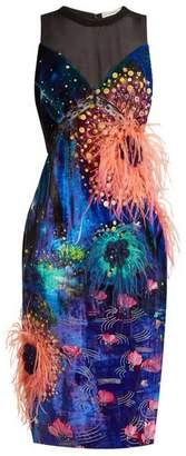 Mary Katrantzou Affair Embellished Dandelion Print Velvet Dress - Womens - Blue Multi