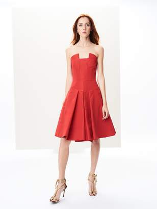 Oscar de la Renta Strapless Silk-Faille Cocktail Dress