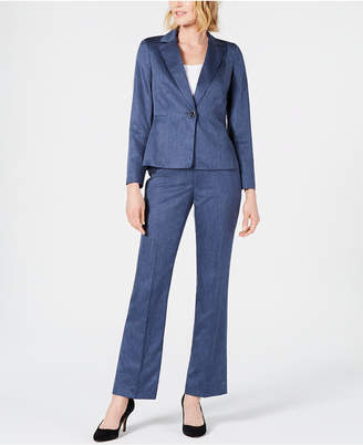 Le Suit Petite Single-Button Blazer Pants Suit