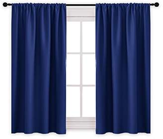 PONY DANCE Bedroom Blackout Draperies Blue Curtains - Rod Pocket Top Blackout Curtain Panels/Window Treatments Home Decoration for Kids' Room by