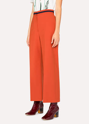 Paul Smith Women's Rust Wool-Blend Wide Leg Pants With Contrast Waistband