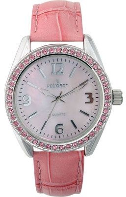 Peugeot Ladies Crystal Bezel Croco-Embossed Strap Watch
