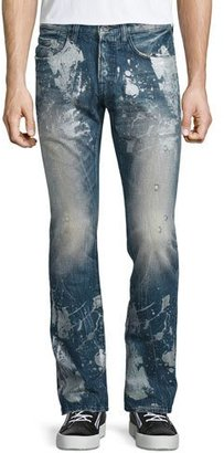 PRPS Barracuda Antique-Washed Denim Jeans, Blue $300 thestylecure.com