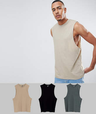 Asos DESIGN TALL tank with dropped arm hole 3 pack SAVE