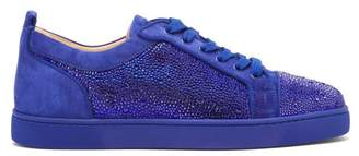 Christian Louboutin Louis Junior Strass Suede Trainers - Mens - Blue