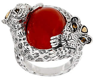 JAI Sterling Leopard Wrapped Jade Cabochon Ring