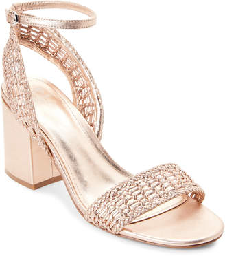 Marc Fisher Metallic Peach Amere Leather Block Heel Sandals