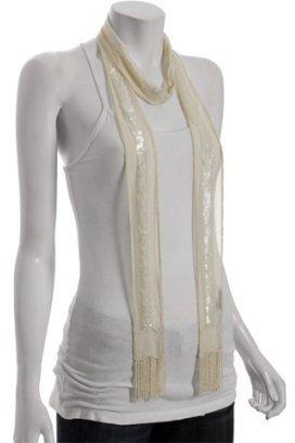 Chan Luu cream beaded silk long skinny scarf