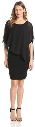 Adrianna Papell Women's Chfn Drape Overlay W Banding Dress